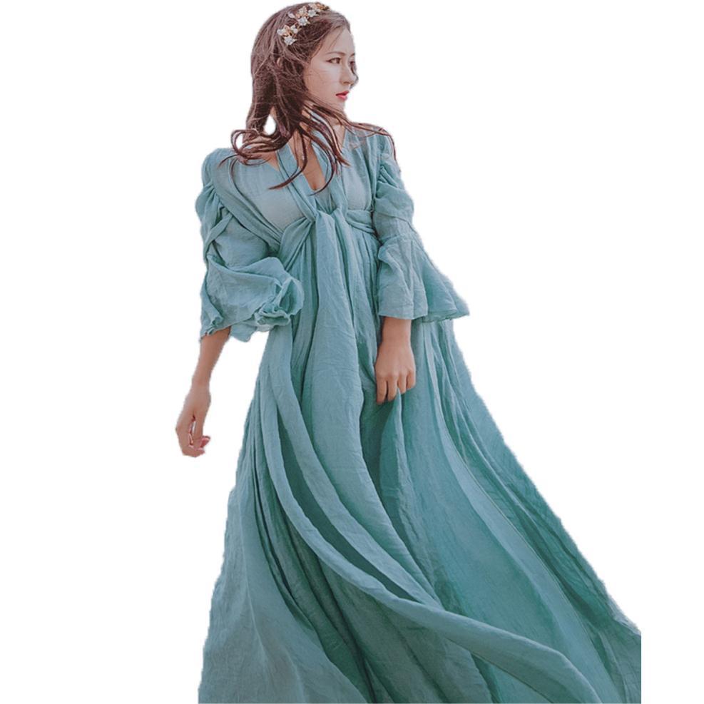 High Quality Summer Maxi Dress Women Elegant Low Cut Princess Jurk Dames Cotton Linen Vestido Longo