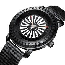 Men Watch Automatic Turbine Rotation Bezel Dial Mens Quartz Wristwatches Luxury Full Steel Casual Clock Relogio Masculino