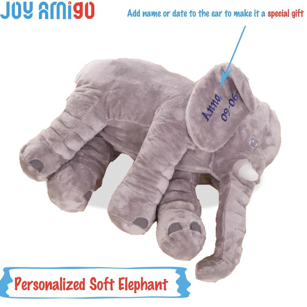 Εξατομικευμένο μονόγραμμα μαλακό ελέφαντα με την επιλογή σας από το όνομα Μονογράφημα στο αυτί Πλουμιστικό παιχνίδι ζωηρόχρωμα λούτρινα Ειδικό δώρο για παιδιά