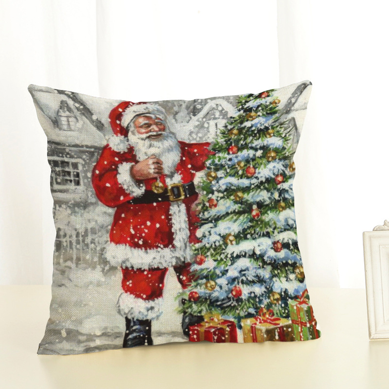 New Year Christmas Decorations For Home Christmas Pillow cover Santa Claus and Dog Cotton Linen Pillowcase Office Home Cushion (3)