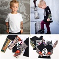 Streetwear Hip-hop Fake Tattoo Sleeve Baby Boy T-Shirts Fashion Girls Clothes Novelty Children Clothing Shirts Tops 100% Cotton