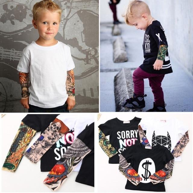 Streetwear Hip-hop Fake Tattoo Sleeve Baby Boy T-Shirts Fashion Girls  Clothes Novelty Children Clothing Shirts Tops 100% Cotton 91798c1a7b96