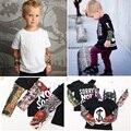Streetwear Hop Falsa Tatuagem Manga Bebê Menino Camisetas Roupas Da Moda Meninas Roupas Crianças Novidade Camisas Encabeça 100% Algodão