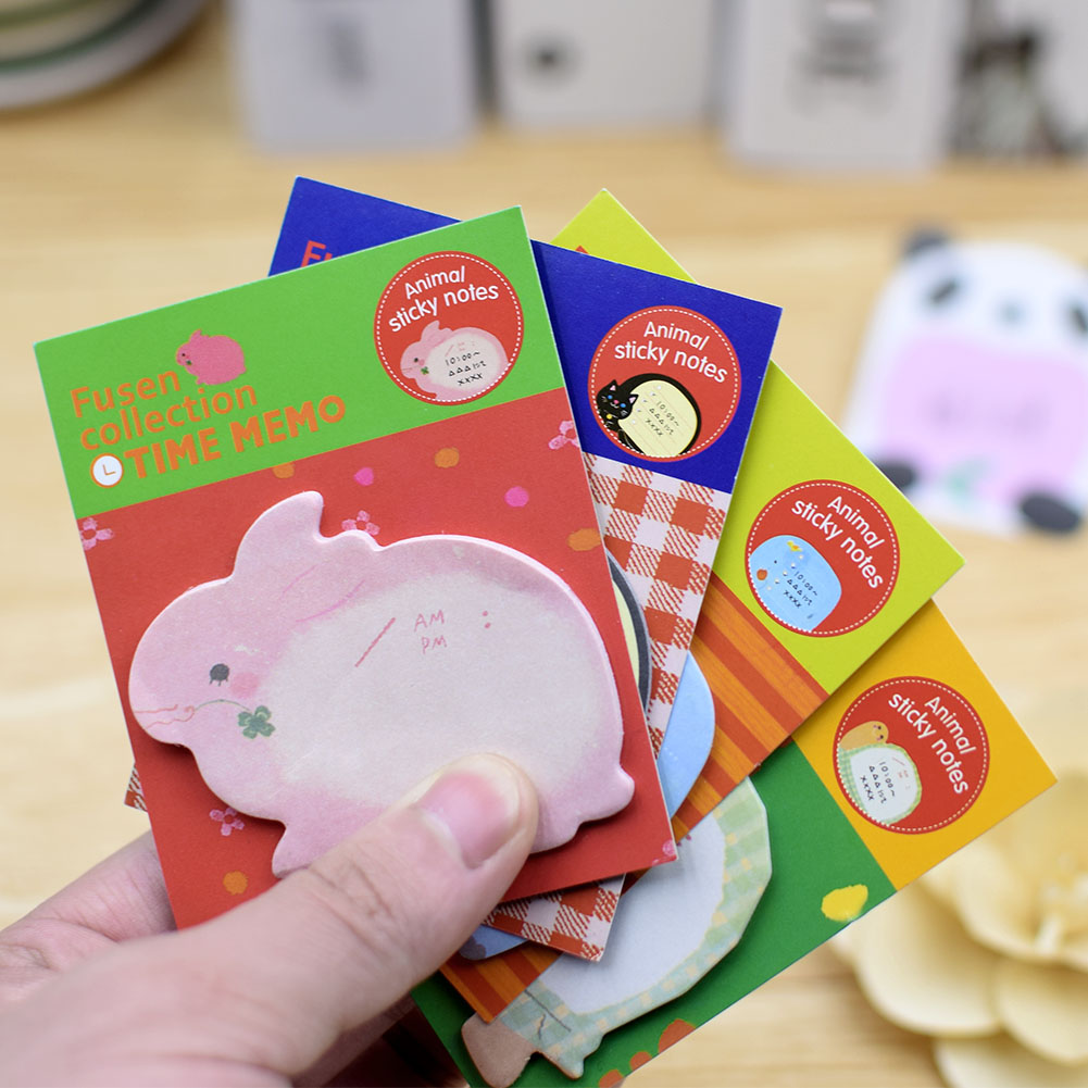 WITUSE 1Pc 4Pcs 8Pcs Sticky Notes Creative Cute Cartoon Animals Post Notepad Memo Pads Office Supplies School Stationery Scratch