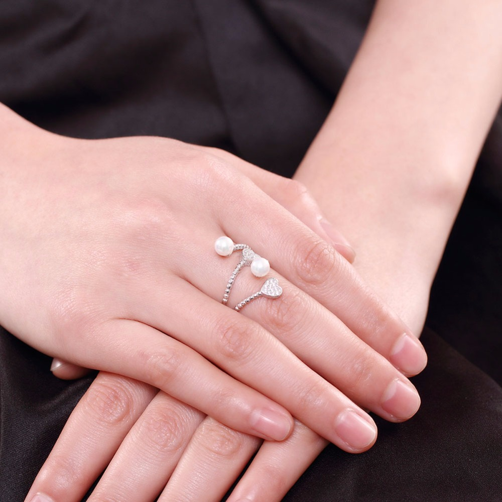 Aliexpress.com : Buy Adjustable Simulated Pearl Ring Heart Cubic ...