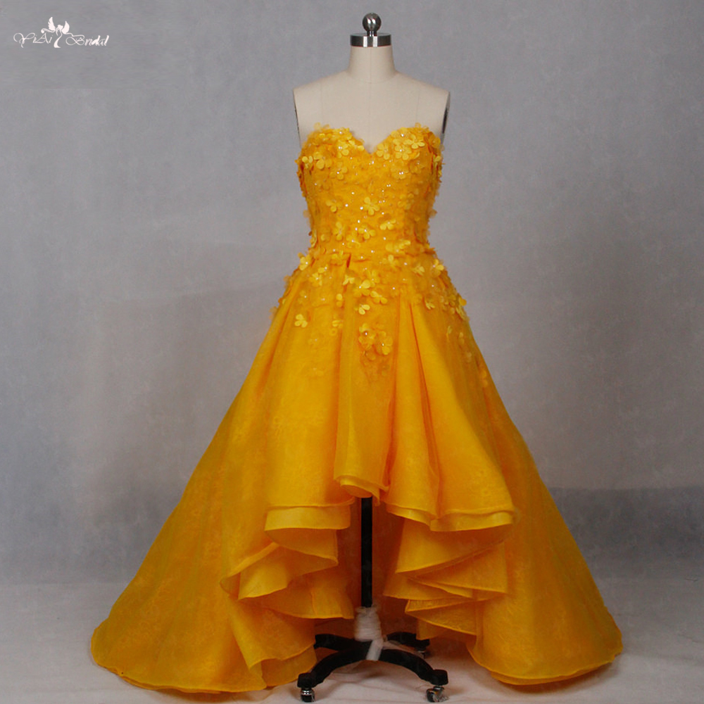 LZ151 Alibaba Sweetheart Lace Dress Yellow Real Floral High Low Dress Prom Dresses