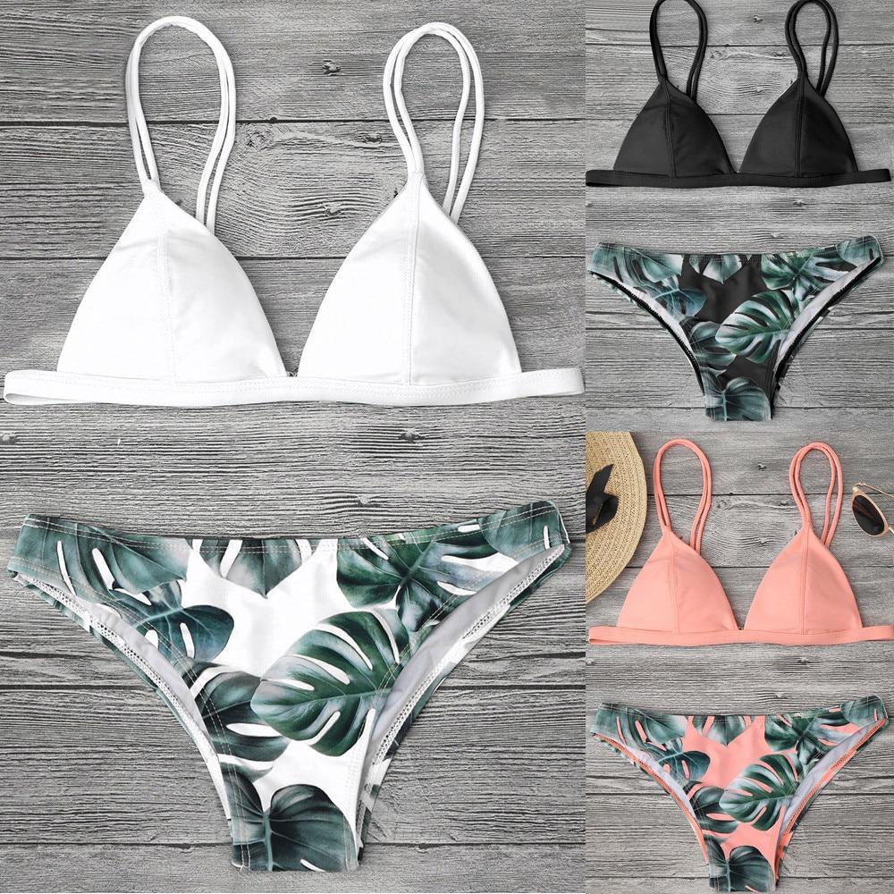 Bikini 2020 Mujer Women Leaf Print Swimwear Bikini Set Print Leaves Push-Up Padded Bathing Sexy Swimsuit Beachwear Monokini