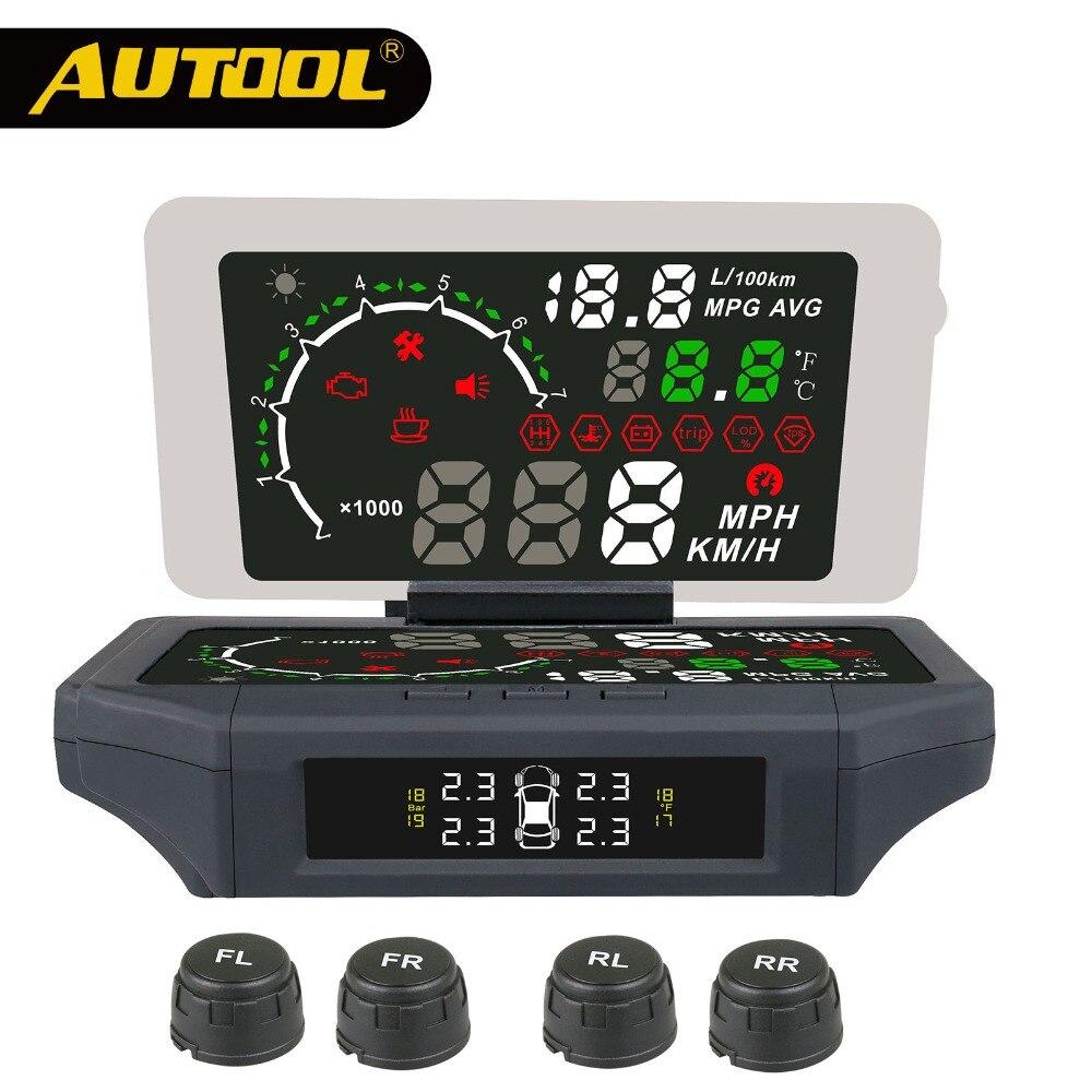 OBD2 Car TPMS HUD Head up Display OBDII Automotive Speedometer Tire Pressure Alarm Digital Driving Monitor HUD TPMS Fuel Gague