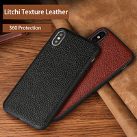 Phone case For iphone 7 8 case Genuine leather litchi texture For iphone X back cover For iphone 6 6s plus 5s soft silicone case