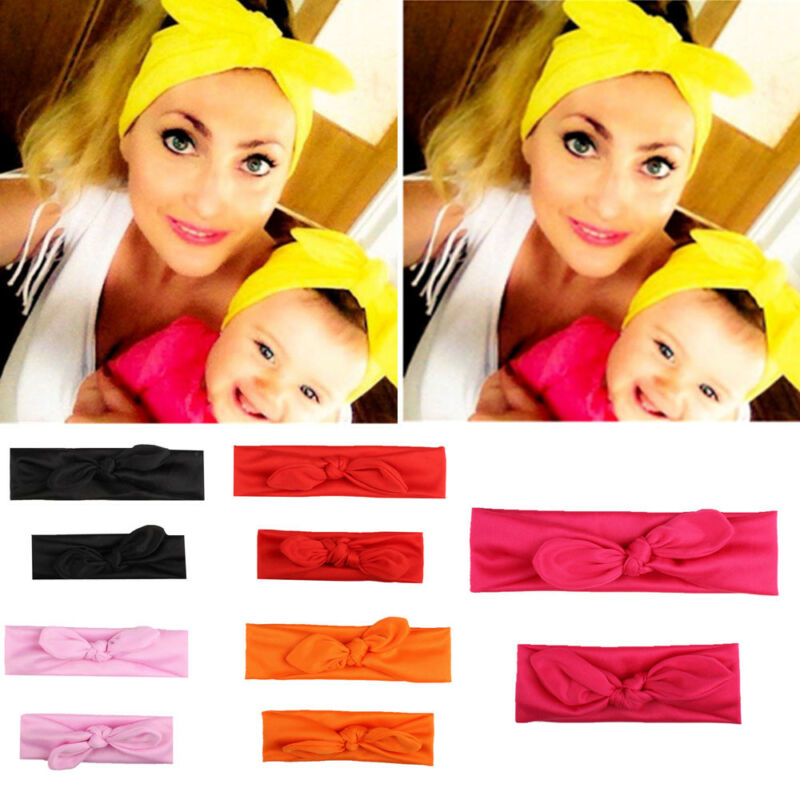 Women Mum And Baby Girls Boho Bohemian Bow Hair Head Band Bandana Newborn Elastic Bow Knotted Turban Headband Headwear Set 2Pcs