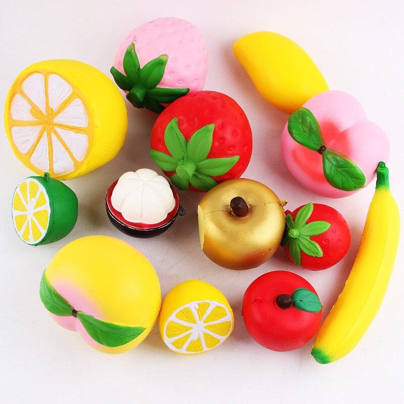 imágenes para 5 unids/lote Blando suave Fresa/Melocotón/Limón/Encanto Del Teléfono del Plátano Fruta Squeeze Juguetes Estilo Al Azar