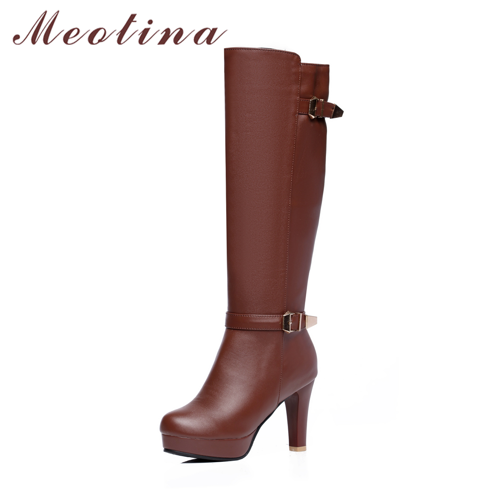 Meotina Women Winter Boots Platform High Heels Knee High Boots Buckle Strap Zip Shoes Large Size 42 43 Round Toe Ladies Boots big size 33 43 2016 new style thick heels high quality zip knee boots cozy buckle charm add fur fall winter boots women shoes