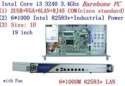 Ondersteuning ROS Mikrotik PFSense Panabit Wayos 1U server netwerk met 6 * inte 1000 m 82583 v LAN Intel CORE i3 3240 Barebone PC