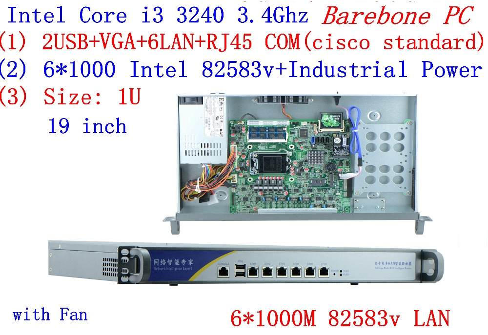 Support ROS Mikrotik PFSense Panabit Wayos 1U Server Network With 6*inte 1000M 82583V LAN Intel CORE I3 3240  Barebone PC