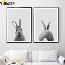 Black White Baby Animal Rabbit Tail Wall Art Canvas Painting Nordic Posters And Prints Nursery Wall Pictures For Kids Room Decor black white baby animal rabbit tail canvas art print and poster nursery bunny canvas painting for kids room nordic wall decor