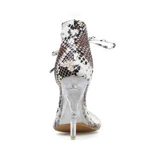 Image 5 - Kcenid Sexy PVC transparent talons hauts chaussures compensées pour femmes sandales bout ouvert cristal talon robe chaussures de fête serpent impression sandales