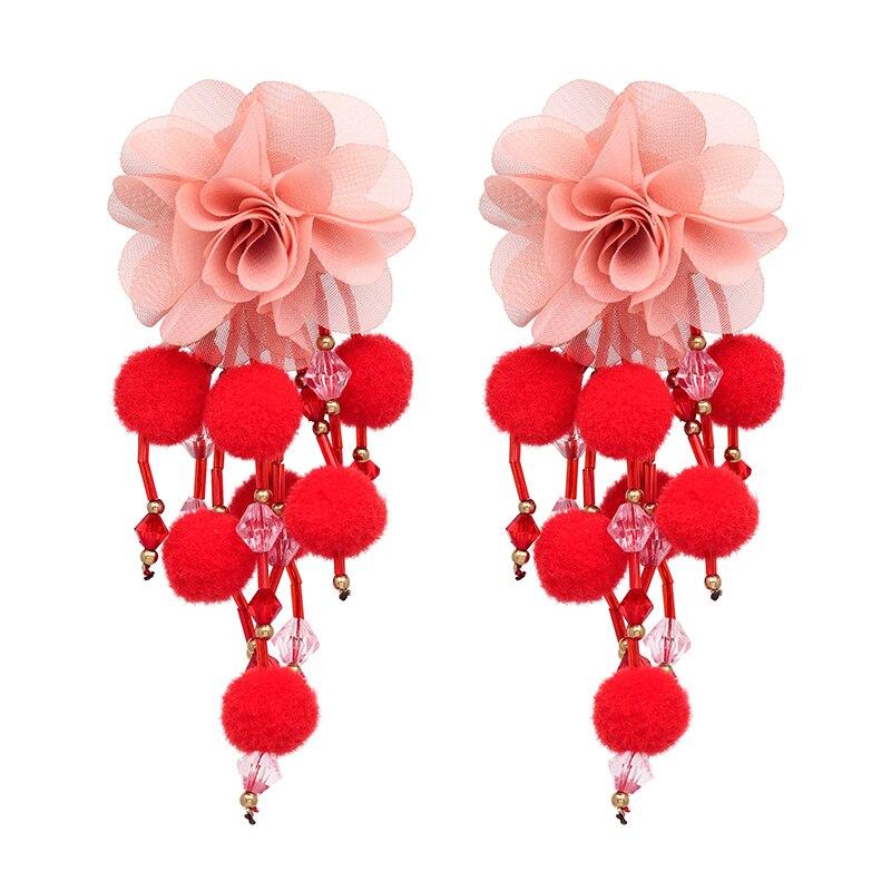 JUJIA Bohemian Long Flower Earrings Pom Pom Big Statement Earrings Fringe Drop Earrings Women Jewelry 16