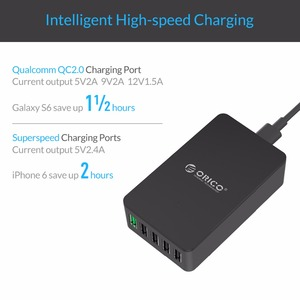 Image 3 - ORICO 5 ports USB chargeur de bureau QC2.0 chargeur rapide 5V2.4A 9V2A 12V1.5A pour iPhone Samsung Huawei tablette