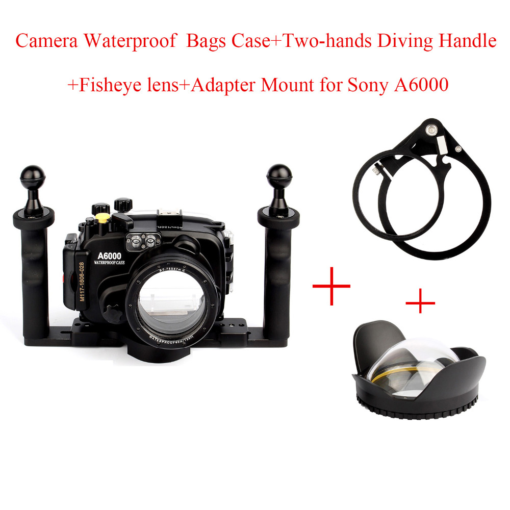 Boîtier étanche pour appareil photo sous-marin pour Sony A6000 avec objectif 16-50mm, + Port dôme Fisheye + support adaptateur + poignée à deux mains