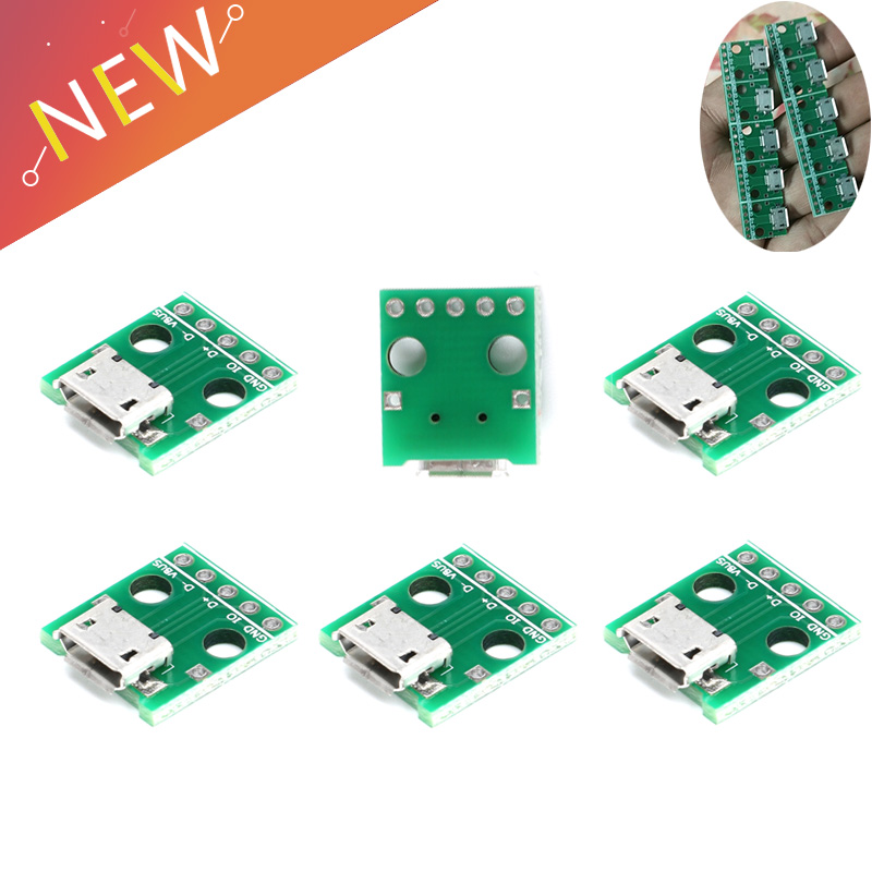 10pcs/lot Micro USB To DIP Adapter 5pin Female Connector Module Board Panel Female 5Pin Pinboard B Type PCB 2.54MM10pcs/lot Micro USB To DIP Adapter 5pin Female Connector Module Board Panel Female 5Pin Pinboard B Type PCB 2.54MM