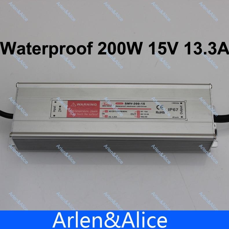 купить 200W 15V 13.3A Waterproof outdoor Single Output Switching power supply for LED по цене 1698.58 рублей