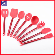 2016 Hot Selling Set of 6pcs Silicone Kitchen Cooking Tools with Stainless Steel Handle Cooking Utensil Set