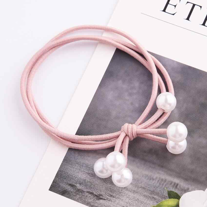 Line Bow White Pearl Hair Ring Three-In-One Hair Rope Hair Accessories Jewelry For Women