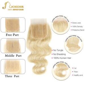 Image 4 - 613 Honey Blonde bundles with closure Brazilian Body Wave Human Hair Weave Bundles With Closure Lace Closure With Bundles Joedir