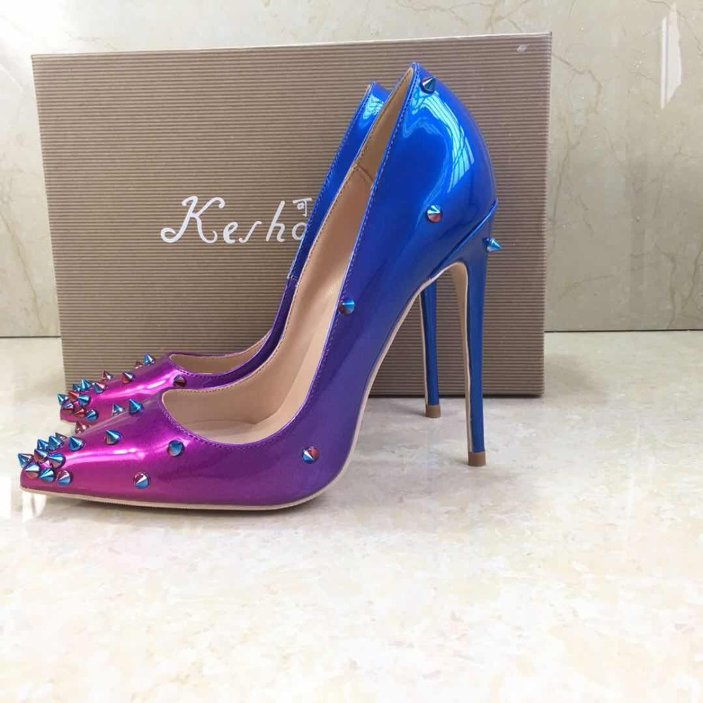 Keshangjia Patent Leather heels Shoes Pointed Toe Women Pumps Rivet Studded For Wedding Party Dress Stiletto