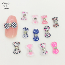 LEAMX 50pcs/bag Resin Bow Decoration With Rhinestone Nail Art Jewelry 3D Acrylic Tie Design Decor Nails Charms L483