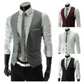 Hot sale 2016 New Gentle Men Vest Men's Formal Suit V-necked vest Slim Fit Fashion Four colors Plus Size M-XXXL