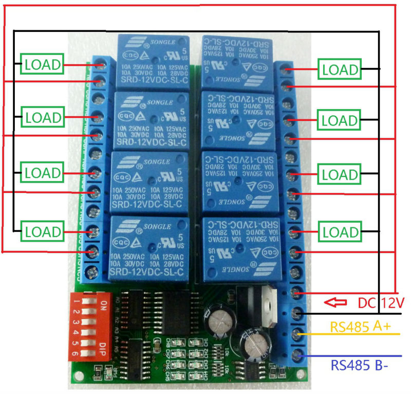 8CH dc 12V Modbus RTU RS485 Relay Module Switch Board for PLC Lamp ...