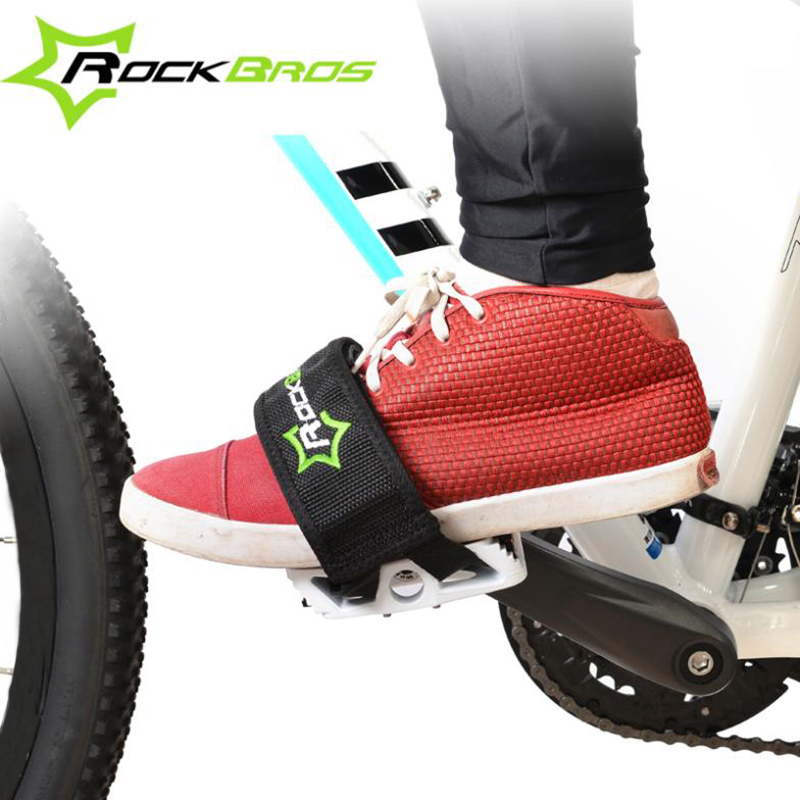 RockBros Bicycle Fixed Gear Cycling Pedals Bands Feet Set With Straps Beam Foot Cycling Bike Anti-slip Bicycle Pedals Strap