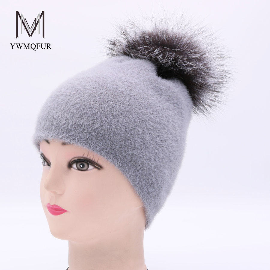 YWMQFUR Autumn winter fashion knitted artificial mink velvet hat with fox Fur ball Pom Pom Hats for women's sport beanies gorro