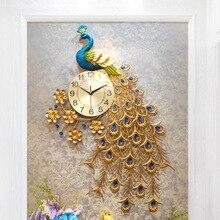 Большой кристалл павлин настенные часы современный дизайн 3D Роскошные Часы настенные для гостиной домашний декор настенные часы свадебные
