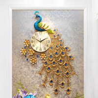 Big Crystal Peacock Wall Clocks Modern Design 3D Luxury Clocks Wall For Living Room Home Decor Wall Clock Wall Watches Wedding