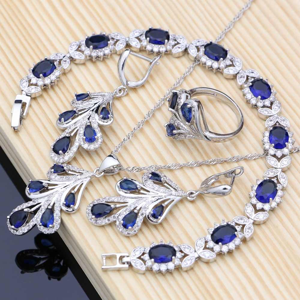 Silver 925 Jewelry Set Blue Zircon White Crystal Costume For Women Stones Leaves Earrings Rings Bracelet Necklace Set