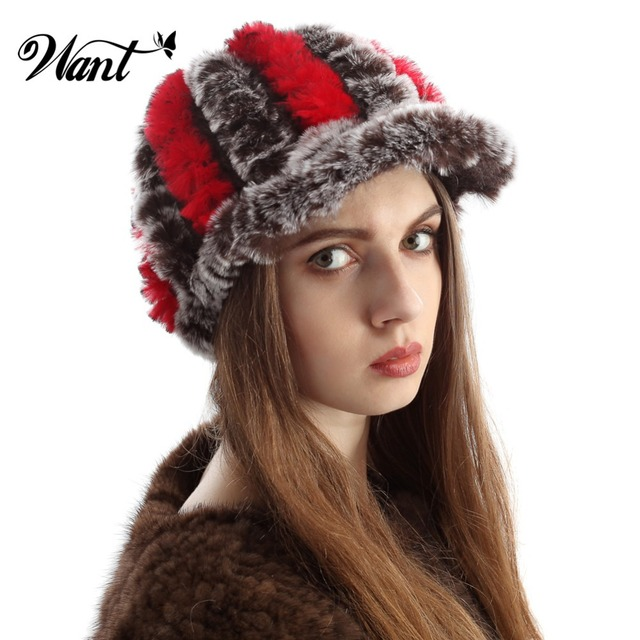 Want Warm Winter Hats For Women With Short Hair Fall 2015 New Fashion Real  Rabbit Fur Hat Outdoor Genuine Knitted Casquette TS2 785b65d8fa3