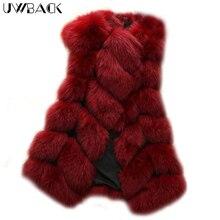 Uwback Women Coat Fuax Fur Vest for Lady Warm Fluffy Fur Vest Patchwork Candy Color 2017 New Winter Mujer Long Vest Black,EB214