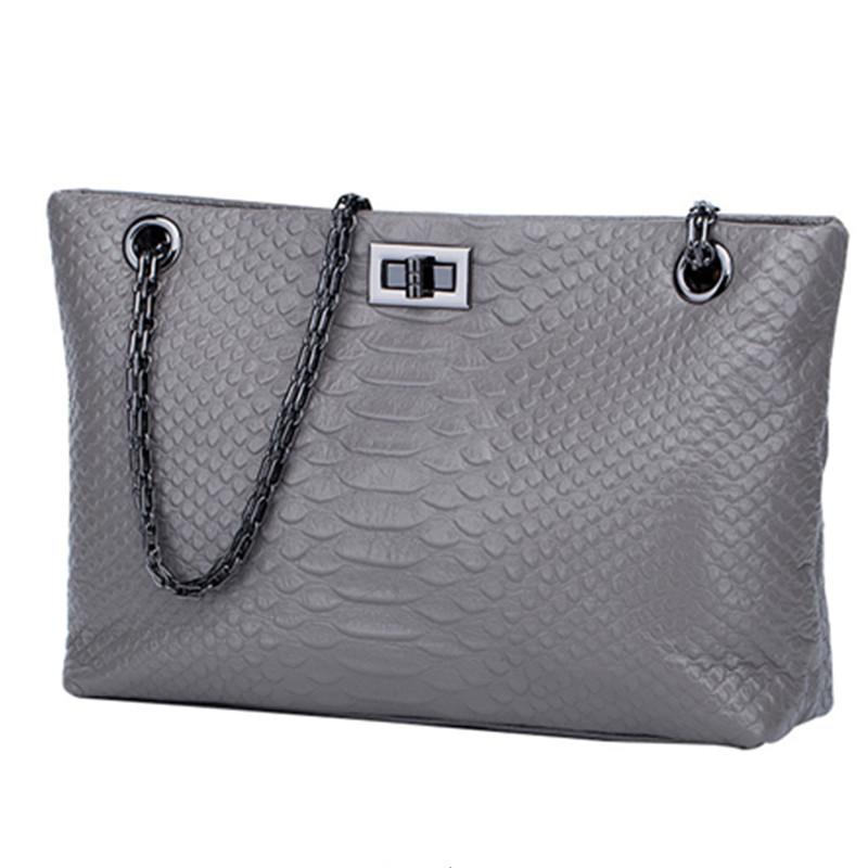 Women Serpentine Pattern Bag Genuine Leather Cowhide Chain Handbags Shoulder Bags Crossbody Ladies High Quality Famous Grey citall 6 columns billet deep cut frame grill for harley electra glide road king road street glide flht flhr fltr flhx 2009 2013