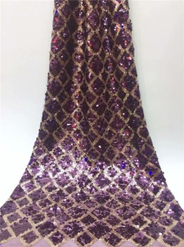 wholesale price purple sequins Embroidery Nigerian Tulle Lace Fabric, Sequin Lady Dress Lace Fabric  FY712