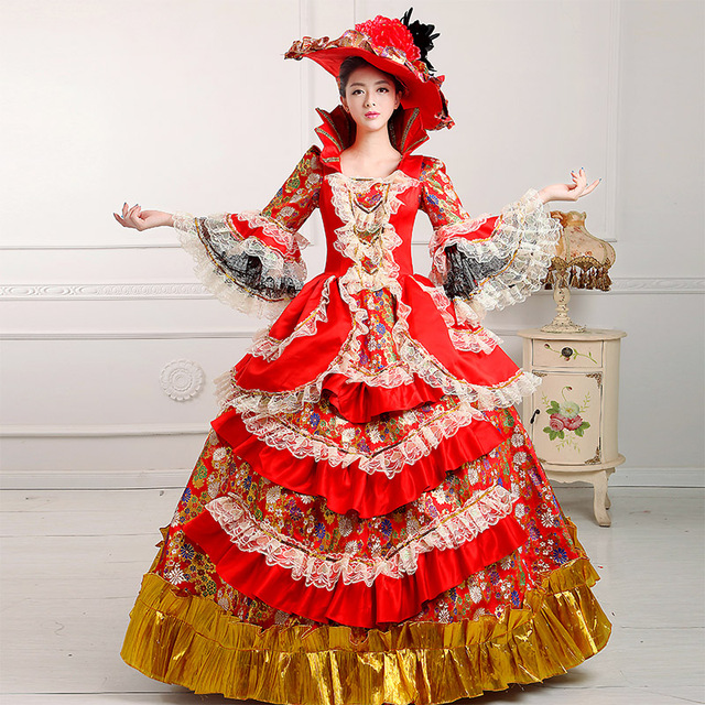 Retro Red Floral Carnivale Queen Gown Theater Stage Costume ...