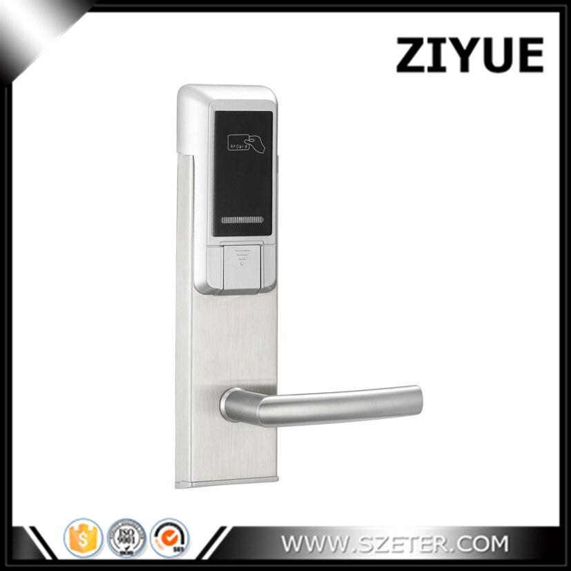 ZIYUE Silver Finish RFID Door Lock Hotel Room Door Lock with key for hotel inn   ET103RF-S hotel lock system rfid t5577 hotel lock gold silver zinc alloy forging material sn ca 8037