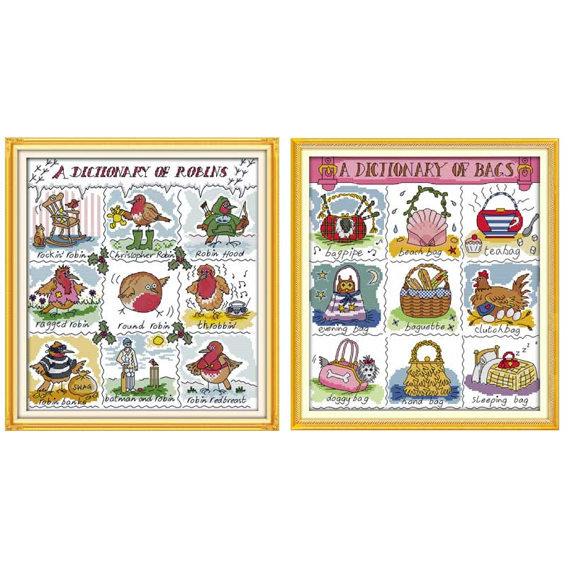 Little Bird Dictionary Counted Cross Stitch 11CT 14CT Cross Stitch Set Wholesale Chinese Cross-stitch Kits Embroidery Needlework