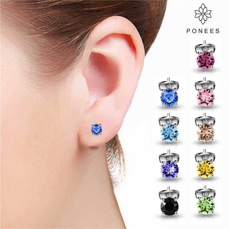 2019 New Fashion Jewelry Crystal Stud Earrings For Women Rhodium 4MM Small Round Crown Earrings For Gift