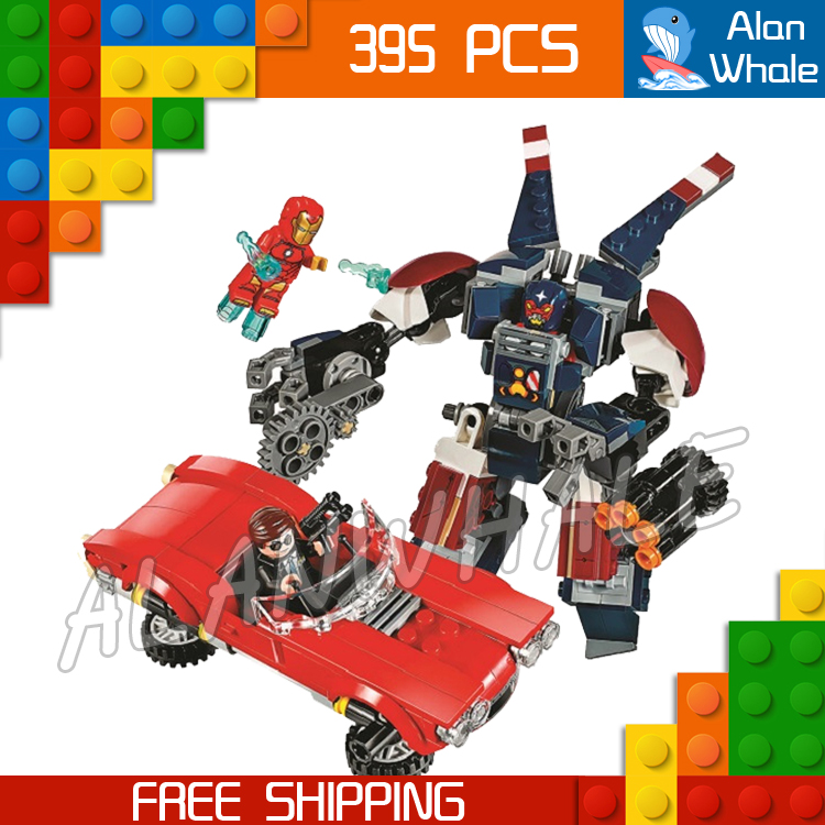 395pcs Super heroes Detroit Steel Strikes 10674 Model Building Blocks Assemble Bricks Robots Chidlren Toys Compatible With Lego