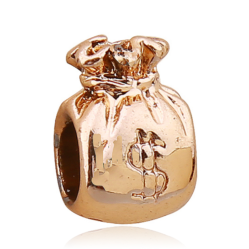 Free Shipping 1pc Gold Money Bag Hole Beads Charms Fit European Pandora Style Charm Bracelets And Necklaces In From Jewelry Accessories On