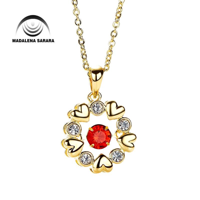 MADALENA SARARA AAA Synthetic Quartz Stone Smart Rotation FashionMulti Heart Pendant Necklace S925 Chain Necklace