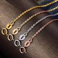 AU750  Solid White Gold Necklace / Perfect  O Chain  necklace