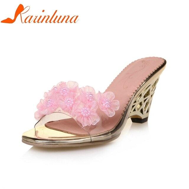 0b72d2bb0 KARINLUNA 2018 Tamanho Grande 32-43 marca sapatos de Cunha mulheres de  Salto Alto deslizar